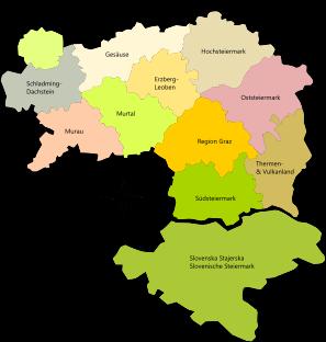 Karte Erlebnisregionen Steiermark